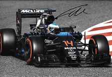 Fernando Alonso firmado 12x8, F1 McLaren-Honda MP4-31, prueba de Barcelona 2016
