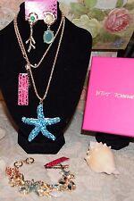 3pc Betsey Johnson STUNNING 2pc Lacy Crystal Elephant Necklace Earrings Bracelet