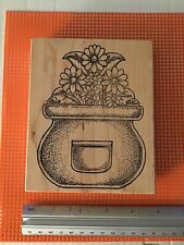 M19, Large Pot Of Flowers, ExLarge The Rubbernecker Stamp on Wood