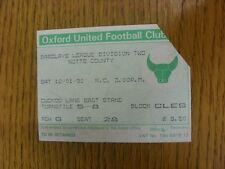 12/01/1991 Ticket: Oxford United v Notts County  (corner cut off, creased). Bobf