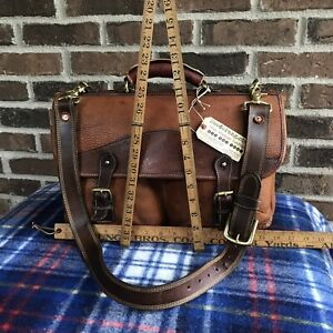 ONE-OF-A-KIND VINTAGE 1990s DISTRESSED LEATHER MACBOOK PRO BRIEFCASE BAG R$898