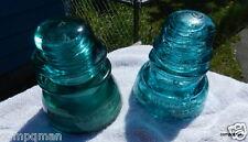 HEMINGRAY GREEN GLASS INSULATOR HEMINGRAY #42 & #40 Fast Free Shipped