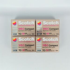 Scotch VHS-C Compact Videocassette TC-30 EXG Blank Tapes 4-Pack Sealed