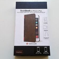 Twelve South BookBook iPhone 6 Plus 6s Plus leather wallet case w' Stand Brown