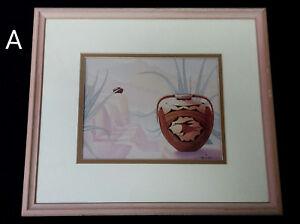 Charles Collins Signed Southwest Art Framed and Matted Desert Pottery Adobe OOP
