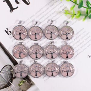 Mixed Natural quartz crystal tree of life stone pendant charms for jewelry 12pcs