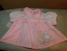 Lamb Applique Mayfair Baby Dress Vintage Philippines Pink w/ Butterfly and Tulip