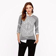 J. CREW Scarf Sweater Heather Gray White MERINO Wool Sweater XS RARE! *