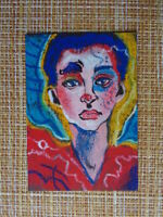 ACEO original pastel painting outsider folk art #010124 girl portrait surreal