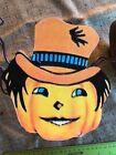 """1920s Vintage Repro JOL Pumpkin Top Hat Halloween Cardstock Decoration,8"""" OR 10"""""""