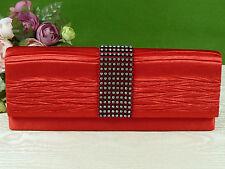 Handtasche ✿ Rot Kristalle ✿ SATIN CLUTCH Baguette Sac Tasche Clutchbag