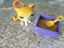 LITTLEST PET SHOP ORANGE KITTY CAT GREEN EYES # 78 W KITTY LITTER PAN & SHOVEL