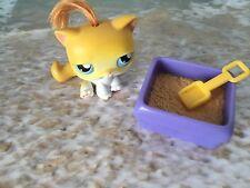 LITTLEST PET SHOP ORANGE KITTY CAT GREEN EYES # 78 W KITTY LITTER PAN & SHOVEL