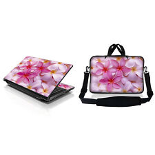 "15.6"" Laptop Computer Sleeve Bag w Shoulder Strap & Matching Skin Pink Plumeria"