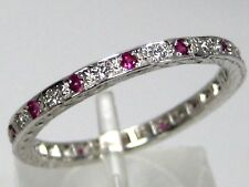 Ruby Ring Antique Eternity Band 14K white gold Heirloom Pave Diamond Free $1,68