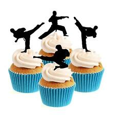 Karate Taekwondo ANY COLOUR Mix 12 Edible Stand Up wafer paper cake toppers