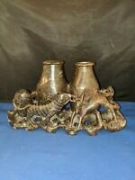 """Chinese handcarved Soapstone Impala & mongoose ? Brush Pot inkwell approx 5""""H"""