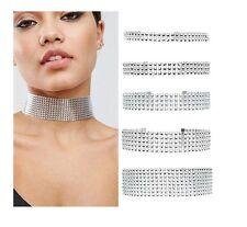 Silver/Gold Thick Diamond Crystal Rhinestone Choker Velvet Wrap Wedding Bridal