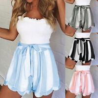 Summer Womens Ladies High Waist Casual Stripe Beach Hot Pants Shorts Size 4-10