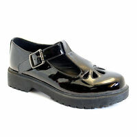 NEW GIRLS BACK TO SCHOOL BROGUE BOW SHOES KICK BLACK SMART SIZES UK 3 4 5 6 7 8