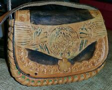 Vtg CARVED TOOLED LEATHER Hand Painted Western Leather MIni Saddle Purse Bag