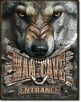 Man Cave Wolf Entrance Wolves Rustic Hunt Bar Garage Shop Wall Decor Metal Sign