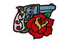 Artist Reed Gun Pistol & Rose Embroidered Iron On Badge Applique Patch FD Left