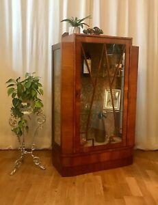 Art Deco Vintage Walnut Display Books Drinks Cabinet