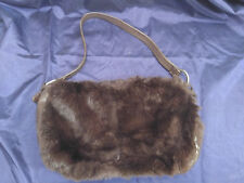 Kenneth Cole Rabbit Fur/Leather Purse- Brown - Heavily Discounted