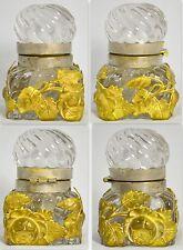 ART NOUVEAU INKWELL PRESSED GLASS BRASS FLORAL ORNAMENTATION SILVER PLATE RIM