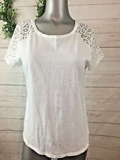 Joe Fresh Size Med White Crochet Lace Sleeve Tee Shirt Cotton