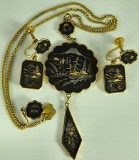 Vintage Japanese Damascene work suite of jewellery. Earrings and pendant