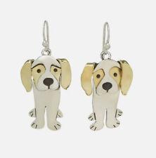 Far Fetched REGAL BEAGLE Dog EARRINGS Sterling Brass Dangle Fair Trade Jewelry