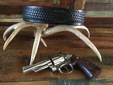Tex Shoemaker Buckleless Black Basketweave Police Leather Duty Belt Size 28