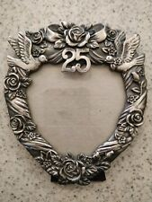 Vintage 25th anniversary pewter picture frame roses ornate flower 3 X 3.25