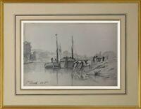 CHARLES WISLIN (1852-1932) BELLE SCENE FLUVIALE A SAINT-CLOUD VERS 1886 (245)