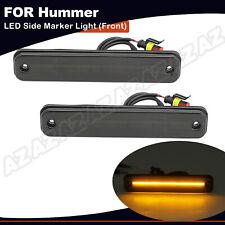 2X Smoked LED Fender Side Marker Light Front Amber Fit For 2003-2009 HUMMER H2