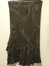 M&S Maxi Skirt UK 16 Brown Paisley Asymmetrical Gypsy Boho Flair Hem Flirty
