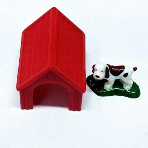 Lincoln Logs Original Red Plastic Dog House and White Dog with Brown Spots Used