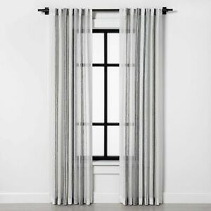 """Sheer Window Curtain Panel Vertical Stripe Gray 95"""" Hearth & Hand with Magnolia"""