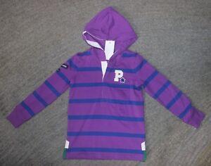 Ralph Lauren Girls Purple / Navy Long Sleeve Hooded Shirt - Size 5 - NWT