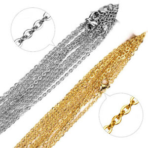 10pcs Stainless Steel Silver Gold Plated Chains Necklace for DIY Jewelry Making