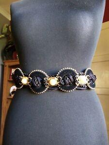 Vintage Velvet And Pearl Waist Belt 80's