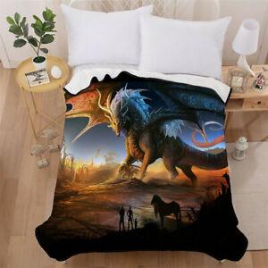 Dragon Bedding Blanket Soft Throw Fleece Warm Sofa Bed Mink Faux Fur Single Size