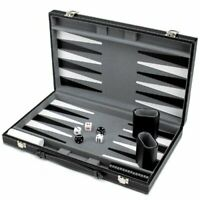 "Monochrome Leatherette Backgammon, 15"" Folding Set"