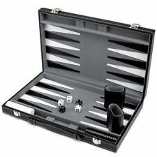 "Monochrome Leatherette Backgammon, 15"" Folding Set"