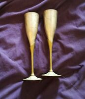 Vintage Set of 2 Brass & Silver Plated Tulip Goblets Wine flute Made in India