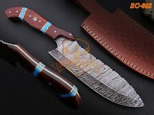 """13"""" Custom made Damascus Chef Knife Rosewood Handle Turquoise sheet spacers"""