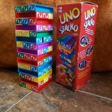 Uno Stacko Game Mattel 2002 Complete in Box w/ Instructions Stacking Strategy