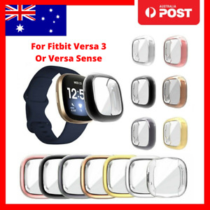 Soft TPU Silicone Shell Full Case Cover Screen Protector for Fitbit Versa 3
